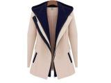 2014外贸春季时尚夹克超薄人造带兜帽夹克女外套休闲外套拼接