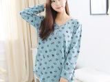 PINK韩国代购睡衣女纯棉长袖 睡衣女士可爱卡通V字领睡衣一件代