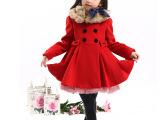 童装新款韩版品牌童装冬款厂家批发 呢子加绒毛领连衣裙一件代发