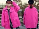 2013新款韩国长袖风衣大衣  宽松大码口袋拉链翻领外套女F80