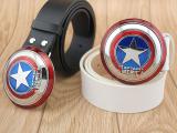 儿童腰带真皮青少年美国队长盾牌 漫画英雄男士皮带 儿童皮带男童