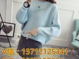 秋季新款简约刺绣直筒毛针织衫上衣批发厂家直销外贸服装
