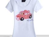 欧洲站经典纯手工女装粉红豹系列pink panther汽车猫短袖