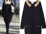 2014欧美秋冬新品时尚个性宽松显瘦大码时尚女装连衣裙A9005