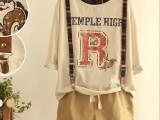 日系森女系个性字母印花打底短袖t恤衫上衣女装2014新款春装