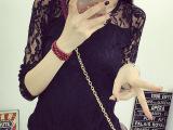 2015秋装韩版上衣大码网纱蕾丝雪纺衫秋款打底衫女中长袖t恤