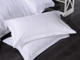宾馆酒店布草床上用品纯棉贡缎三分缎白色枕