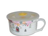 创意杯子圆形陶瓷面杯直纹面杯员工福利礼品春节促销面杯