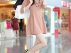 2014韩国新款 夏装时尚韩版中长款连衣裙 娃娃领修身中袖连衣裙
