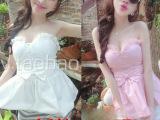 2014新款显瘦纯色百褶裹胸公主萝莉裙摆马甲小背心吊带