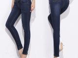 爆款 韩版新款女式高腰牛仔裤 修身大码棉弹铅笔裤 水洗牛仔长裤