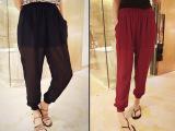韩版女装2014夏季新款韩版裤脚收口 纯色宽松款雪纺哈伦裤 夏季