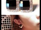 韩国外贸饰品 批发 大牌风 时尚奢华黑宝石镶钻耳环耳钉 精包装