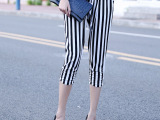 2015夏季新款促销 韩版黑白条纹 哈伦裤七分裤 女 运动裤棉麻