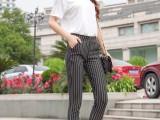 8元夏季新款条纹七分裤女裤中年外穿打底裤子厂家直销