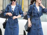2015秋季韩版宽松牛仔大衣大码系带长款显瘦女式牛仔风衣外套女