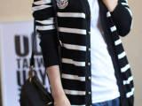2015新款秋装女装韩版通勤长袖修身条纹针织衫开衫海魂风