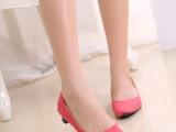 一件代发 批发 小尖头四色时尚简约纯色中跟粗跟女单鞋 惠东女鞋