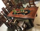 特价新中式实木功夫仿古禅意阳台小办公室老船木茶桌椅