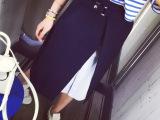 vcruan2015 高腰开叉拼接中裙 半身裙女藏蓝 R5111