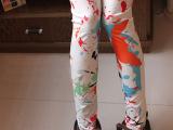 2014新款彩色泼墨打底裤九分裤 无缝印花一体裤 高弹义乌底裤批