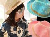 2014新款儿童帽子春夏时尚英伦女童编织草帽爵士帽遮阳帽礼帽