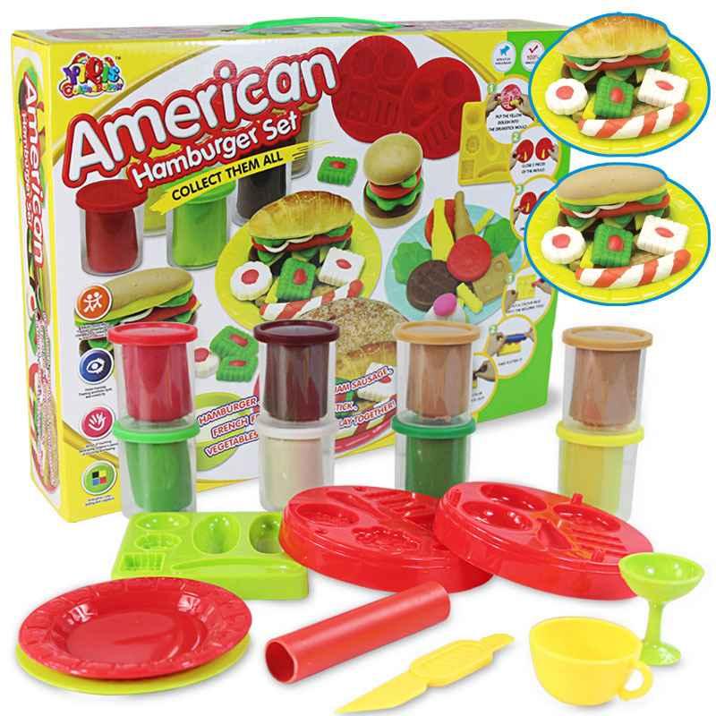 多多乐式彩泥 橡皮泥 创意泥汉堡模具套装 儿童益智DIY玩具