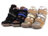 绒里保暖欧美外贸坡跟女鞋休闲鞋全真皮高帮运动鞋内增高厚底