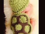 批发摄影婴儿童套帽新款百天宝宝拍照乌龟手工毛线针织帽
