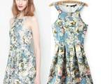 2014春夏新款欧美风复古高端数码印花连衣裙无袖背心裙短裙子女