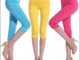 夏季新款七分高腰梭织铅笔裤 糖果色小脚高弹力女打底裤批发
