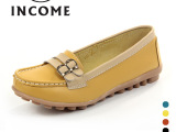 INCOME女鞋 新款拼色双排扣浅口单鞋 真皮豆豆鞋女鞋厂家批发