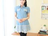 2014 蓝玫宝贝夏季新品孕妇装 时尚蕾丝牛仔上拼接孕妇衬衣 83101