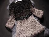 高端定制2014新款女皮草羊毛圆领外套渐变色桐乡皮草中长款外套