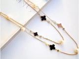 滴油字母 时尚韩版多层四叶草水钻珍珠 可绕圈长款项链 女 毛衣链