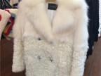 高端定制原单出口韩国  时尚高端白狐皮草西装领中长款女皮草特价