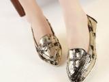 2014春季新款欧美英伦时尚浅口低跟尖头真皮豆豆女单鞋十字架装饰
