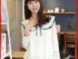2014新款甜美气质系带雪纺衫宽松 女生长袖蝴蝶领结打底衬衣A0