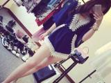 2015夏季新款宽时尚韩版甜美深V领蕾丝花边雪纺收腰连体裤女