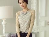 韩版女装秋冬新款批发圆领套头T恤针织打底衫长袖百搭修身女上衣