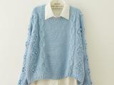 秋季新款 立体麻花手工球球 前段后长女式套头毛衣针织衫6612