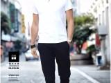 夏季新款短恤T恤男休闲修身韩版青少年纯色T恤纯棉打底衫V领