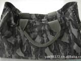 厂家供庆军绿迷彩帆布料中型行李包