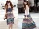 波西米亚沙滩大摆长裙 吊带裙 牛仔抹胸裙 2013夏装新款半身裙