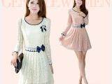 现货2014年春装韩版气质蕾丝连衣裙女长袖雪纺蕾丝米白色裙