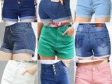 韩版女牛仔短裤时尚简约牛仔短裤女卷边薄款夏季热裤中腰翻边裤裙