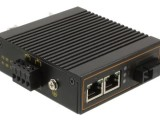 百兆1光2电工业级光纤收发器DIN卡轨式双电源防雷防静电
