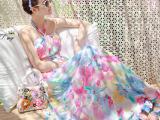 2015波西米亚挂脖露肩抹胸雪纺连衣裙女神印花拖地长裙度假沙滩裙