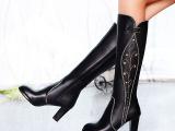 时尚休闲侧拉链喷漆粗跟女靴帮面压条绣花水钻长靴纯色中跟靴子
