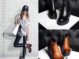 2014秋冬新款欧美头层牛皮粗跟女靴高档个性时尚马丁靴女